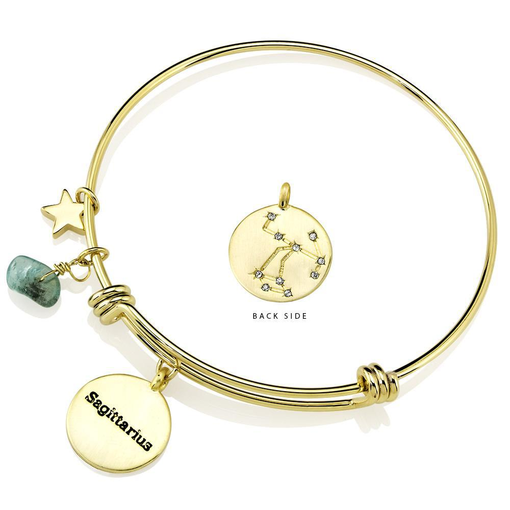 Daily Steals-Designer-Inspired Gold-Plated Horoscope and Constellation Bangle-Jewelry-Saggitaurus-