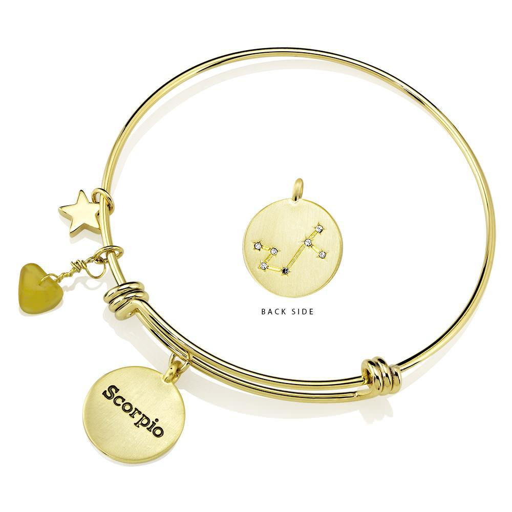 Daily Steals-Designer-Inspired Gold-Plated Horoscope and Constellation Bangle-Jewelry-Scorpio-