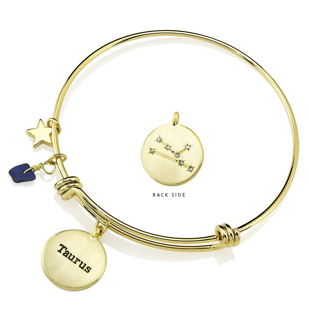 Daily Steals-Designer-Inspired Gold-Plated Horoscope and Constellation Bangle-Jewelry-Taurus-
