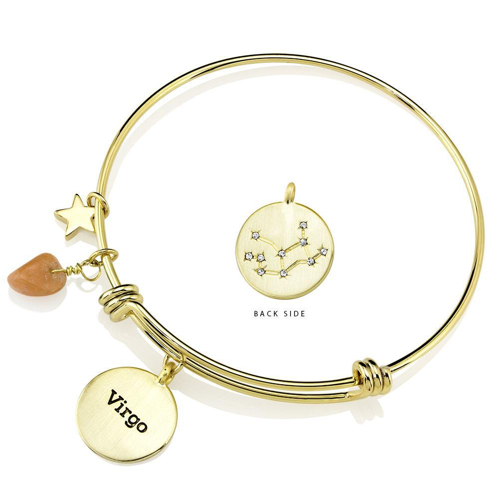 Daily Steals-Designer-Inspired Gold-Plated Horoscope and Constellation Bangle-Jewelry-Virgo-