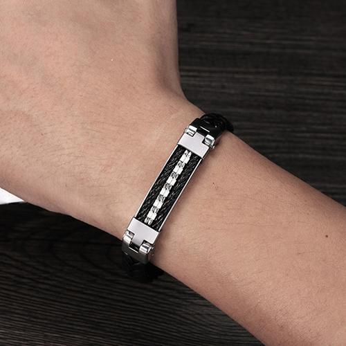 316L Stainless Steel Leather Men's Bracelet-Spiked-Daily Steals