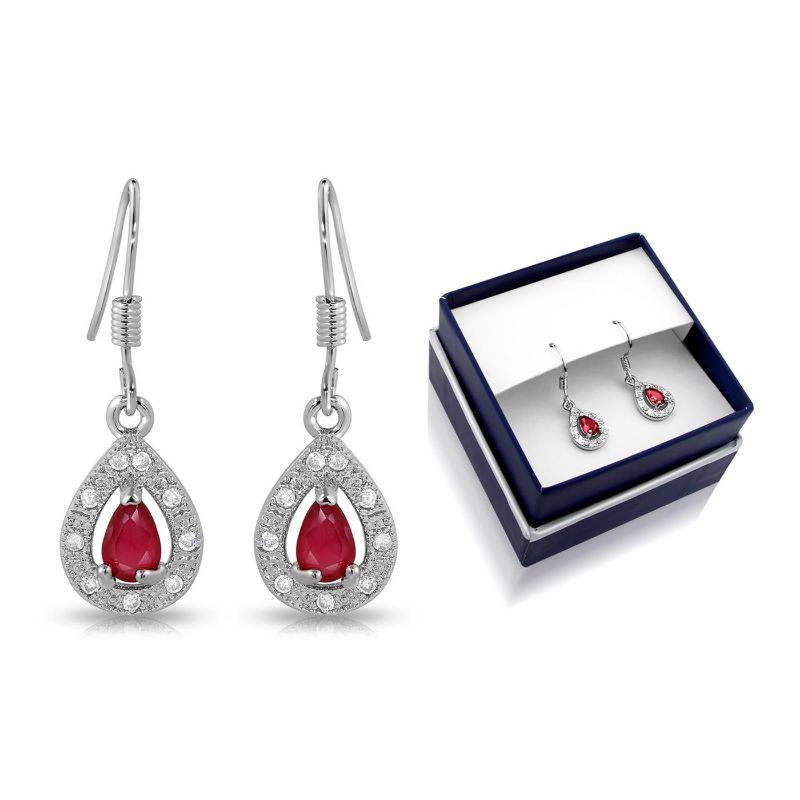 Created Ruby Pear Shape Hanging Earrings-Daily Steals