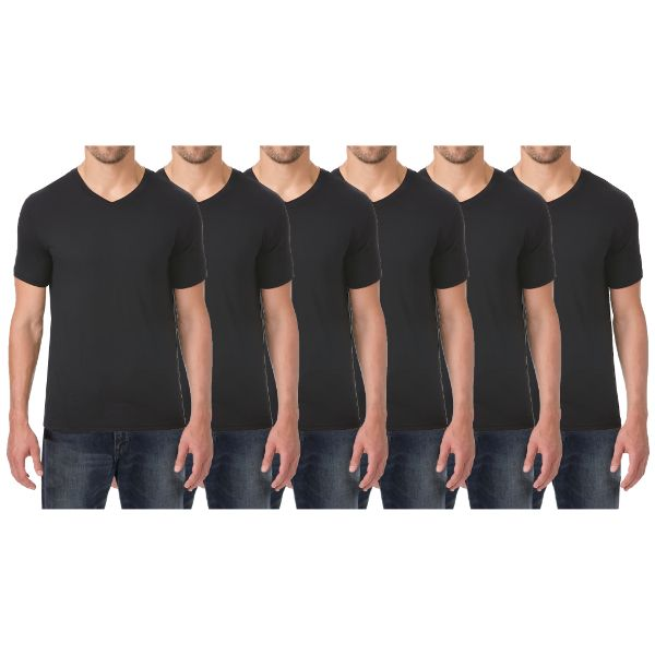 Men's Extra Soft Stretch Technology Premium Quality V-Neck Tees - 6 Pack-Black x6-Small-Daily Steals