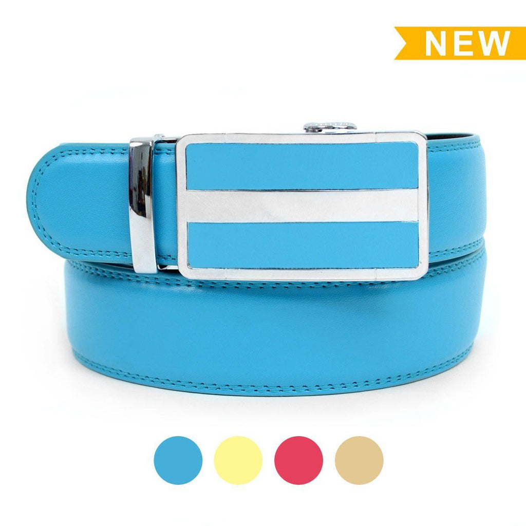 Cut-To-Adjust-Size Men's Genuine Leather Sliding Buckle Ratchet Belt-Baby Blue-Daily Steals