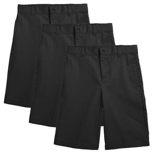 Daily Steals-Back to School Boy's Flat Front Twill School Uniform Shorts - 3 Pack-Men's Apparel-Black & Black & Black-4-