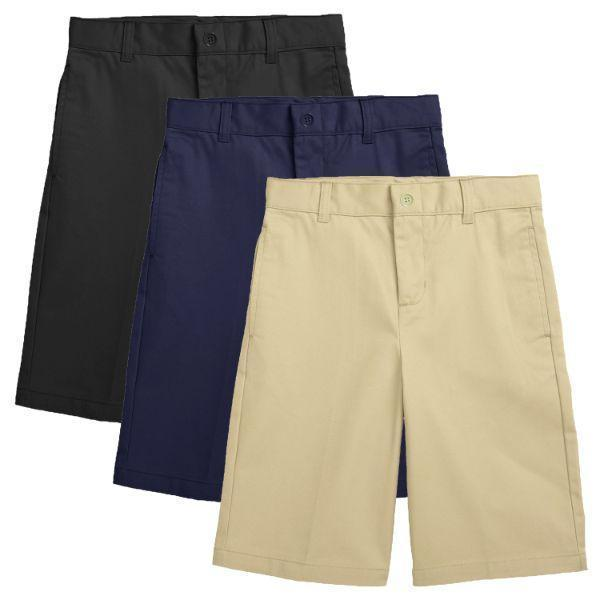 Daily Steals-Back to School Boy's Flat Front Twill School Uniform Shorts - 3 Pack-Men's Apparel-Black & Navy & Khaki-4-