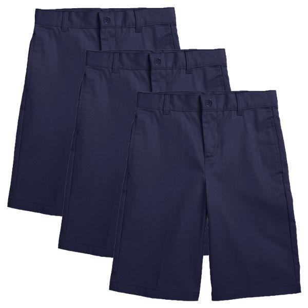 Daily Steals-Back to School Boy's Flat Front Twill School Uniform Shorts - 3 Pack-Men's Apparel-Navy & Navy & Navy-4-