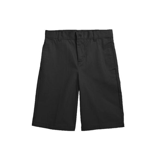 Daily Steals-Back To School Boy's Flat Front Twill School Uniform Shorts-Men's Apparel-Black-4-