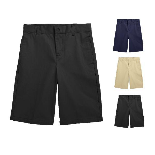 Daily Steals-Back To School Boy's Flat Front Twill School Uniform Shorts-Men's Apparel-Navy-4-
