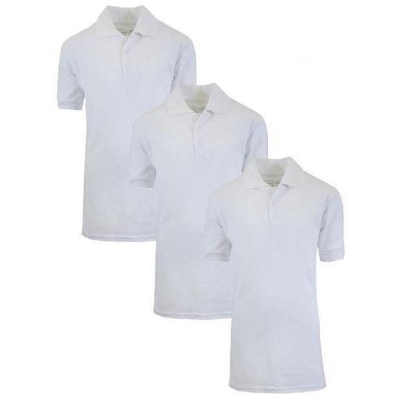 Daily Steals-Back To School Boy's Short Sleeve School Uniform Pique Polo Shirts - 3 Pack-Men's Apparel-3-Pack White-14-