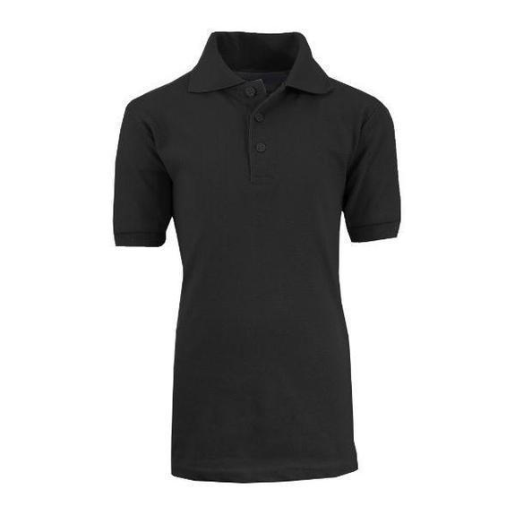 Daily Steals-Back To School Boy's Short Sleeve School Uniform Pique Polo Shirts-Men's Apparel-Black-18-