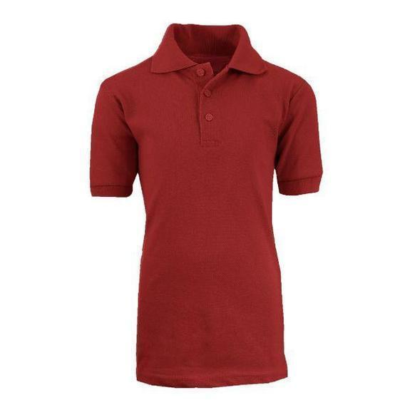 Daily Steals-Back To School Boy's Short Sleeve School Uniform Pique Polo Shirts-Men's Apparel-Burgundy-4-
