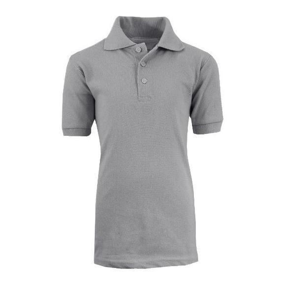 Daily Steals-Back To School Boy's Short Sleeve School Uniform Piqué Polo Shirts-Men's Apparel-Heather Grey-4-