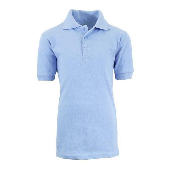 Daily Steals-Back To School Boy's Short Sleeve School Uniform Pique Polo Shirts-Men's Apparel-Light Blue-4-