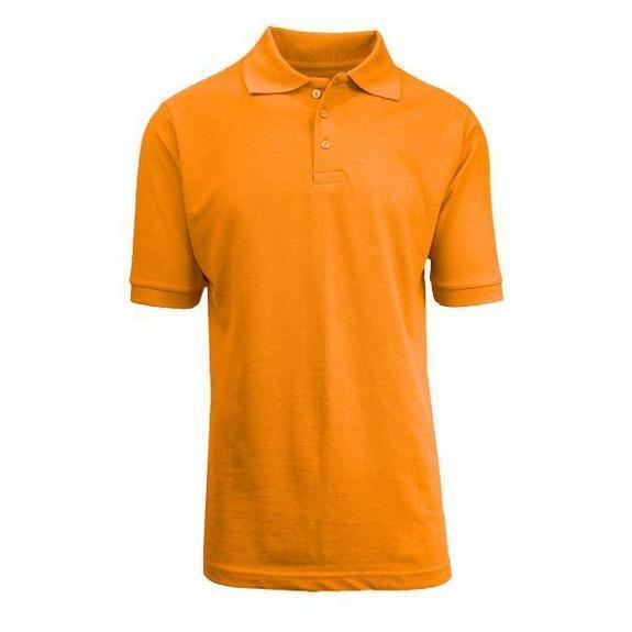 Daily Steals-Back To School Boy's Short Sleeve School Uniform Pique Polo Shirts-Men's Apparel-Orange-4-