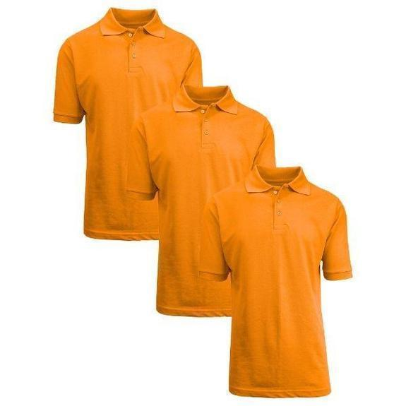 Daily Steals-Back To School Boy's Short Sleeve School Uniform Pique Polo Shirts-Men's Apparel-Orange-5-