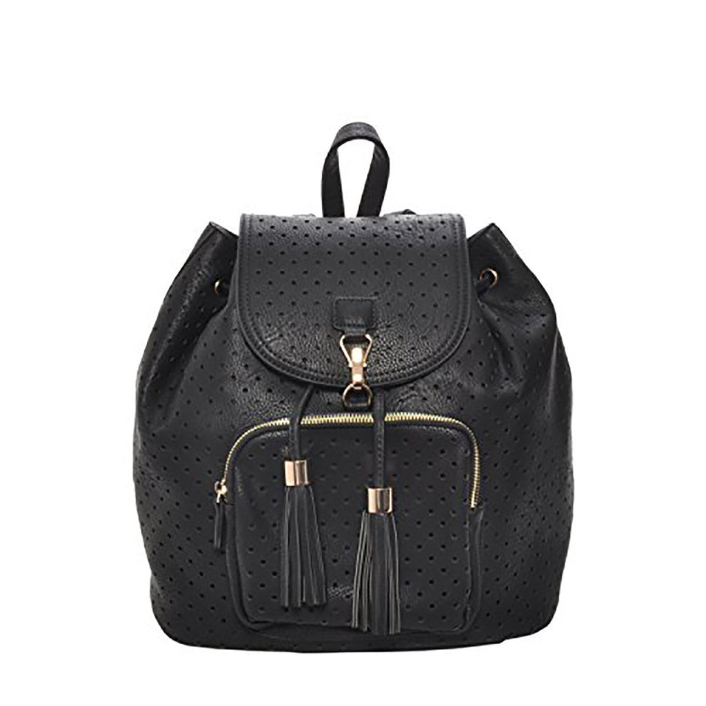 Mechaly Women's Jamie Vegan Black Leather Backpack-Black-1 pack-Daily Steals