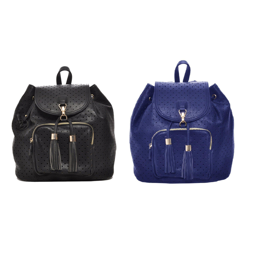 Mechaly Women's Jamie Vegan Black Leather Backpack-Black and Blue-2 pack-Daily Steals