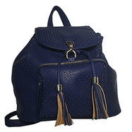 Mechaly Women's Jamie Vegan Black Leather Backpack-Blue-1 pack-Daily Steals