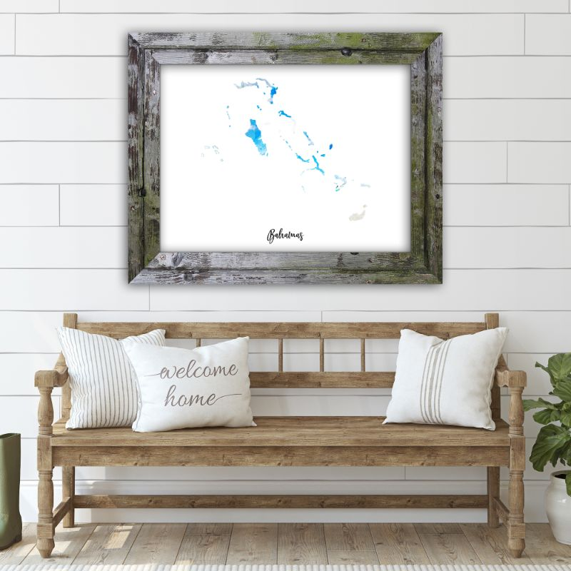"Bahamas Watercolor Map Print - Unframed Art Print-14""x11""-Horizontal/Landscape-Daily Steals"