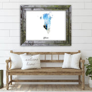"Bahrain Watercolor Map Print - Unframed Art Print-14""x11""-Horizontal/Landscape-Daily Steals"
