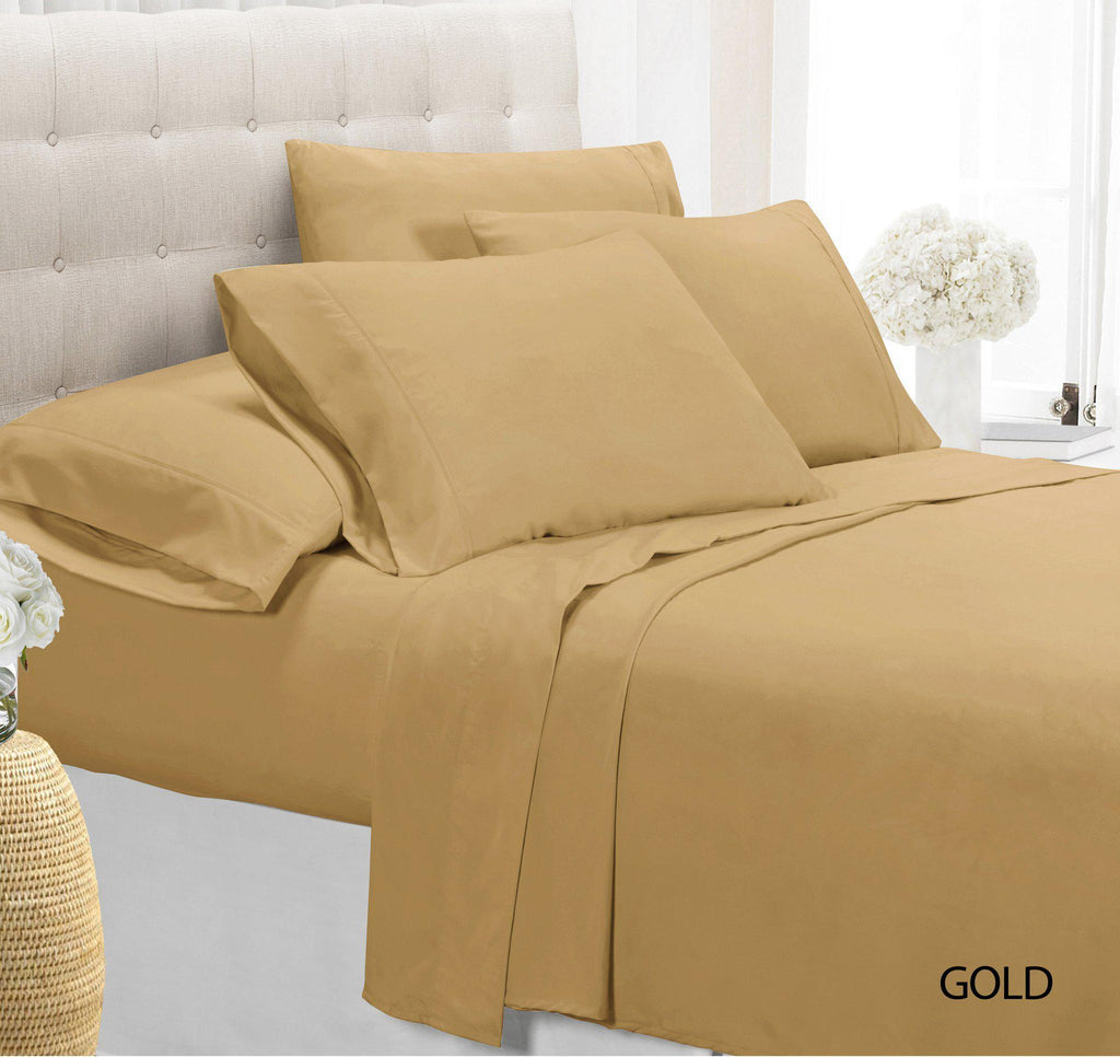 [4-Piece] Luxury Comfort Bamboo-Blend Sheet Set-GOLD-FULL-Daily Steals