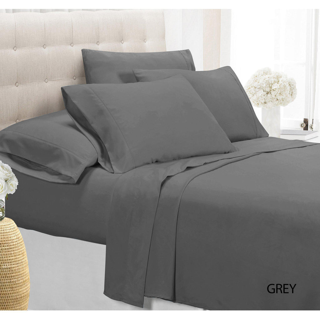 [4-Piece] Luxury Comfort Bamboo-Blend Sheet Set-GREY-TWIN-Daily Steals