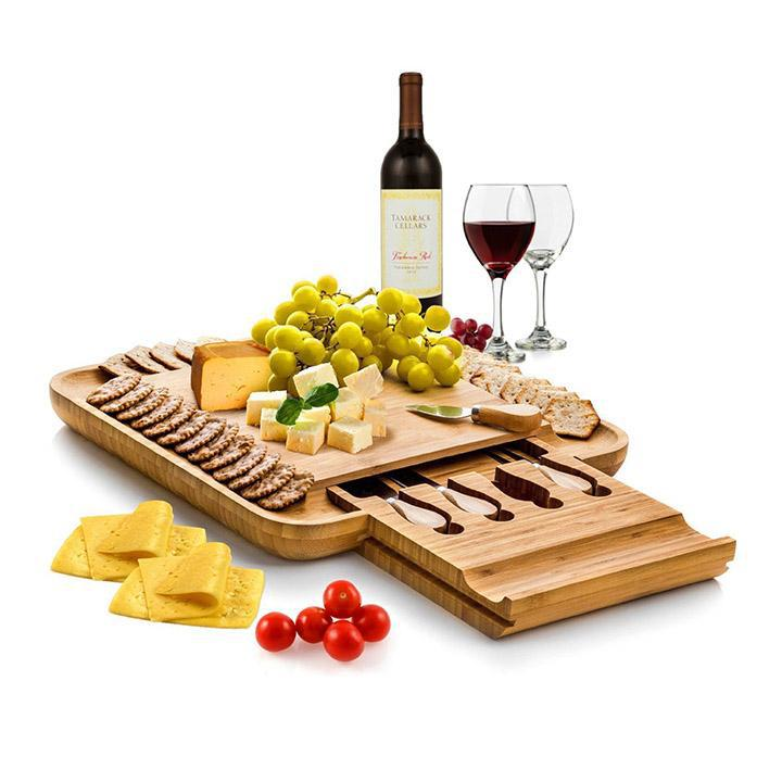 Bamboo Cheese Board and Cutlery Set with Slide Out Drawer-Daily Steals