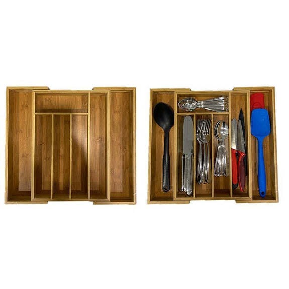Bamboo Kitchen Drawer Organizers - 1 or 2 Pack-Expandable Drawer Organizer - 2 Pack-