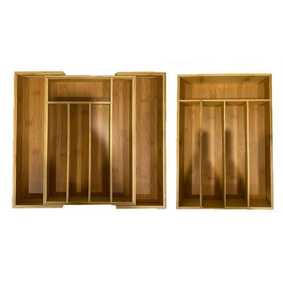 Bamboo Kitchen Drawer Organizers - 1 or 2 Pack-Standard and Expandable Drawer Organizer - 2 Pack-