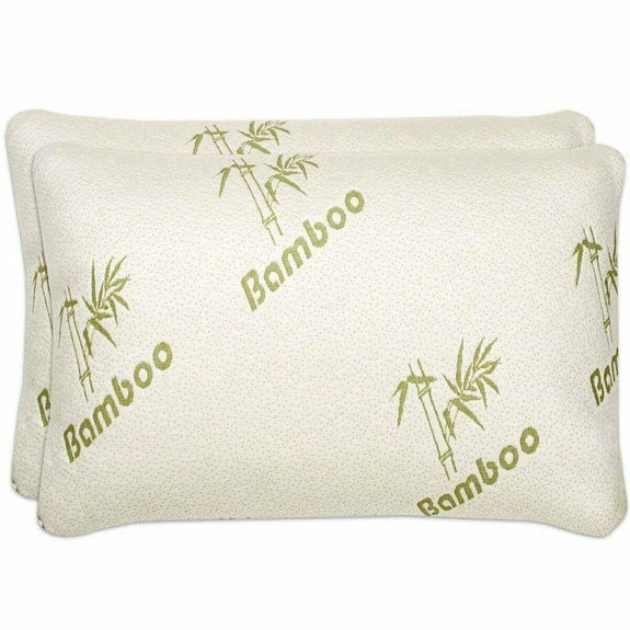 Bamboo Comfort Memory Foam Pillows - Hypoallergenic Cover - 1 or 2 Pack-Standard/Queen - 2 Pack-Daily Steals