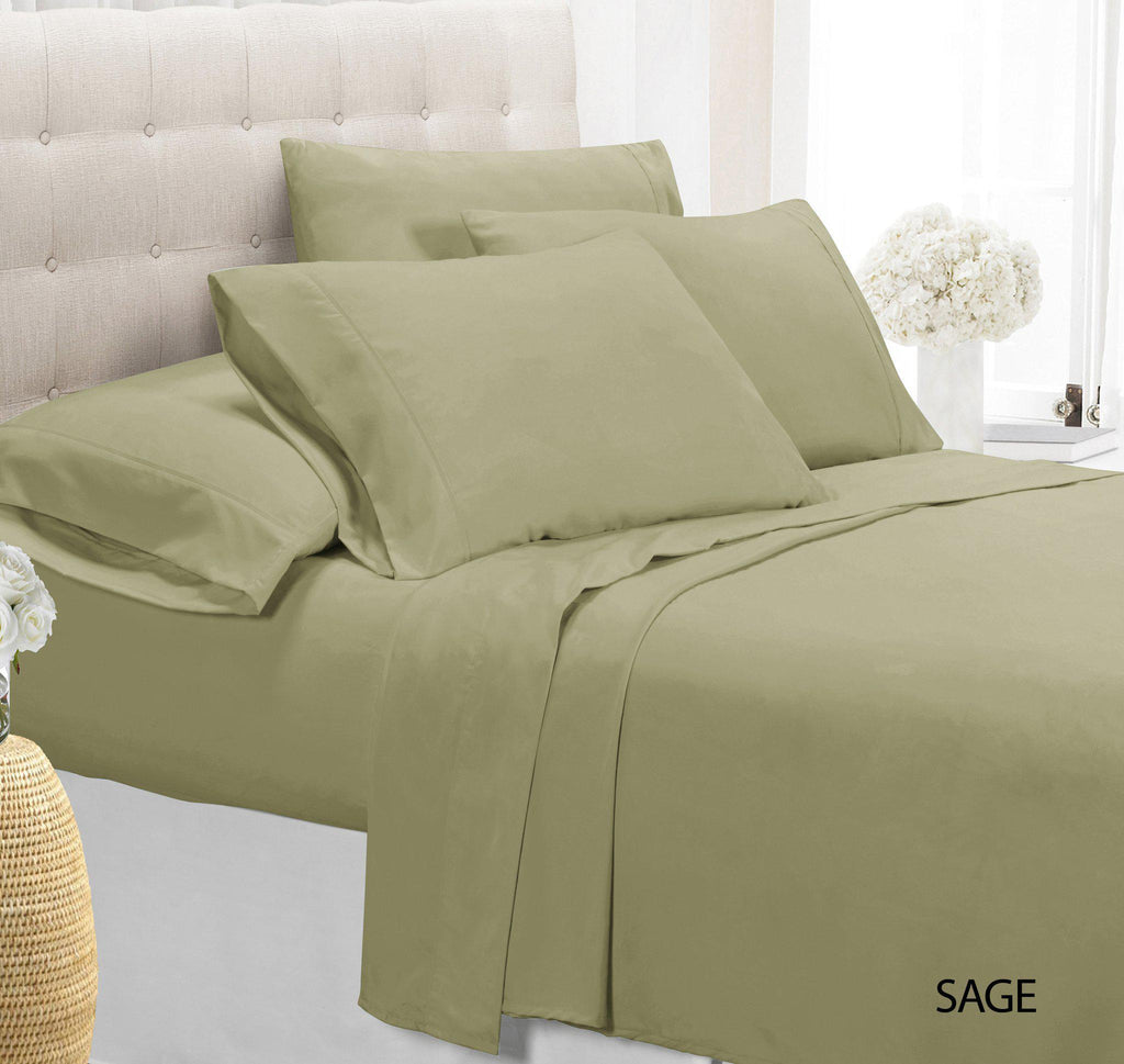 [4-Piece] Luxury Comfort Bamboo-Blend Sheet Set-SAGE-TWIN-Daily Steals