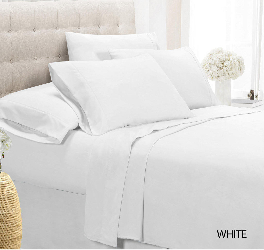 [4-Piece] Luxury Comfort Bamboo-Blend Sheet Set-WHITE-FULL-Daily Steals