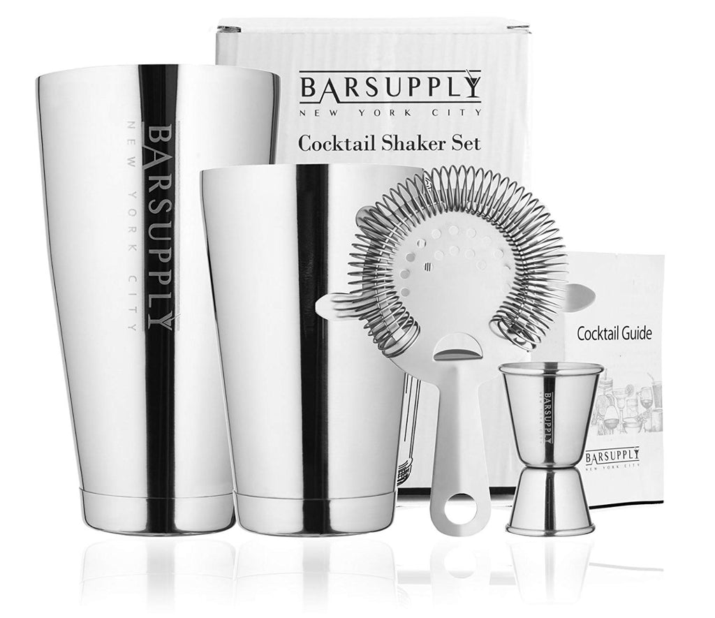 BARSUPPLY Professional 4-Piece Boston Cocktail Shaker Set-Daily Steals