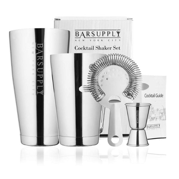 BARSUPPLY Professional 4-Piece Boston Cocktail Shaker Set-Silver-Daily Steals