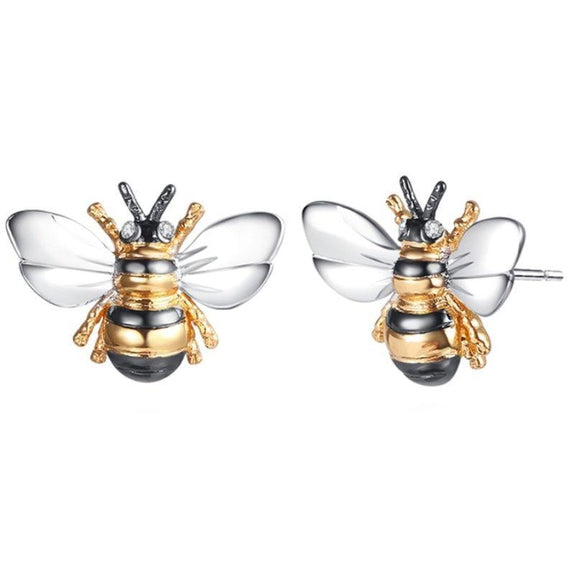 Barzel Tri-Tone Bumble Bee Stud Earrings Made with Swarovski Elements-Daily Steals
