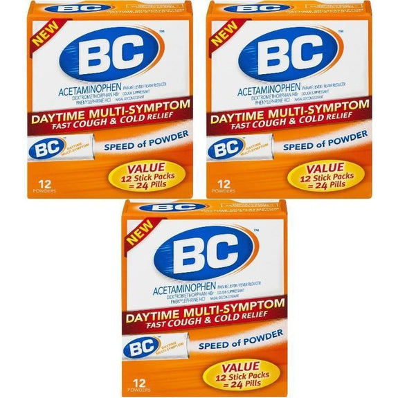 BC Daytime Multi-Symptom Fast Cough & Cold Relief Powders - 3 Pack-