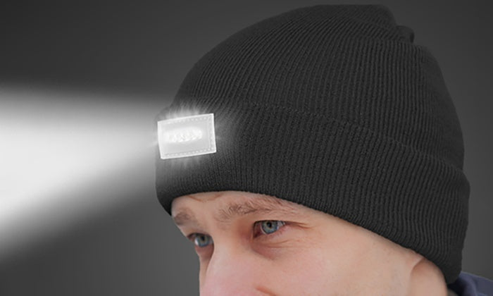 LED Headlamp Beanie for Men and Women-Black-Daily Steals