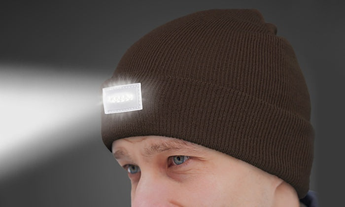 LED Headlamp Beanie for Men and Women-Brown-Daily Steals