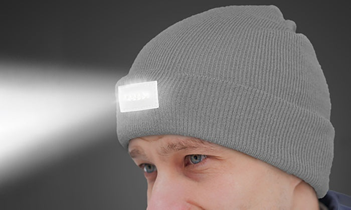 LED Headlamp Beanie for Men and Women-Grey-Daily Steals