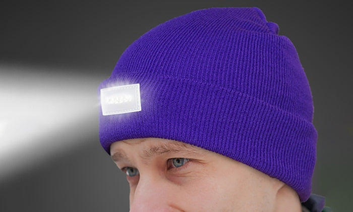 LED Headlamp Beanie for Men and Women-Purple-Daily Steals
