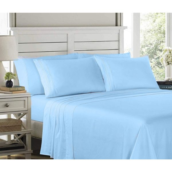 6 Piece EMBROIDERY Microfiber Deep Pocket Bed Sheet Set-Blue-Queen-Daily Steals