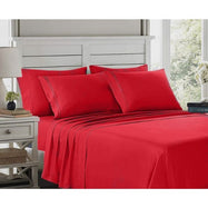 6 Piece EMBROIDERY Microfiber Deep Pocket Bed Sheet Set-Burgundy-Twin-Daily Steals