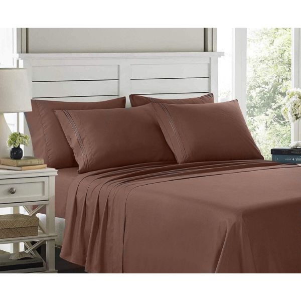 6 Piece EMBROIDERY Microfiber Deep Pocket Bed Sheet Set-Chocolate Brown-Twin-Daily Steals