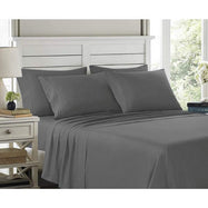 6 Piece EMBROIDERY Microfiber Deep Pocket Bed Sheet Set-Grey-Twin-Daily Steals