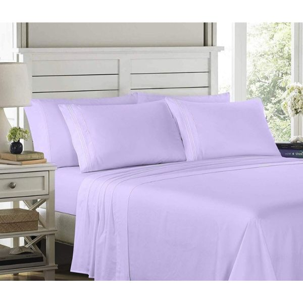 6 Piece EMBROIDERY Microfiber Deep Pocket Bed Sheet Set-Lavender-Twin-Daily Steals