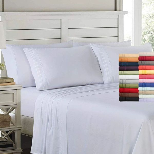 6 Piece EMBROIDERY Microfiber Deep Pocket Bed Sheet Set-Daily Steals