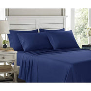 6 Piece EMBROIDERY Microfiber Deep Pocket Bed Sheet Set-Navy Blue-Twin-Daily Steals