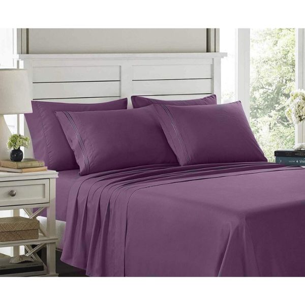6 Piece EMBROIDERY Microfiber Deep Pocket Bed Sheet Set-Purple-Twin-Daily Steals