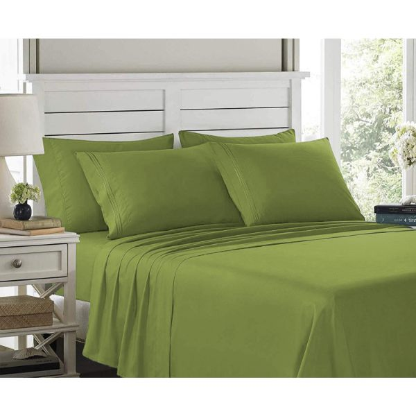 6 Piece EMBROIDERY Microfiber Deep Pocket Bed Sheet Set-Green-Twin-Daily Steals